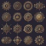 Sakrala geometriformer med ögat, månen och solen royaltyfri illustrationer