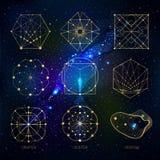Sakrala geometriformer på utrymmebakgrund stock illustrationer