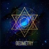 Sakrala geometriformer på utrymmebakgrund vektor illustrationer