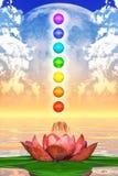 Sakrala Lotus And Chakra Spheres Royaltyfria Bilder