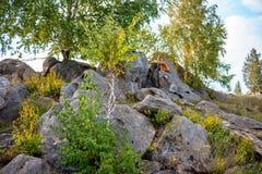 Sakrala stenar i området av byn av Krasnogorye i Ryssland arkivbild