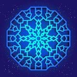 Sakralny geometrii 3d projekt Mandala, arabesk na niebie ilustracji