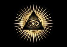 Sakralt frimurar- symbol Guld allt seende öga, det tredje ögat ögat av försyn inom triangelpyramiden ny beställningsvärld stock illustrationer