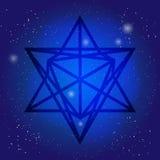 Sakralt geometrisymbol 3d i utrymme Alkemi-, religion-, filosofi-, astrologi- och andlighetteman Metatrons tecken Arkivfoton