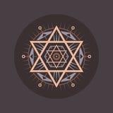 Sakralt geometritecken Den abstrakt vektorn mönstrar Mystikervektoremblem Arkivfoto