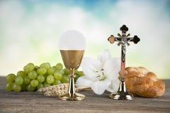 Sakrament der Kommunion, Symbol des heiligen Abendmahl lizenzfreie stockfotos