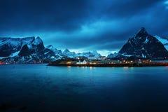 Sakrisoy村庄, Lofoten海岛,挪威 免版税库存照片