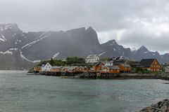Sakrisoy, Lofoten,由雨的挪威 免版税库存照片