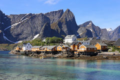 Sakrisoy Lofoten, Norge Arkivbild