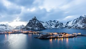 Sakrisoy, Lofoten, Norway at blue hour. Seen from the hill in front stock photos