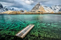 Sakrisoy, Lofoten, Norway. Seen from the hill in front royalty free stock photo