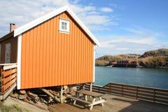 Sakrisoy 's rorbu and fjord Stock Image