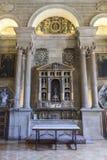 Sakristian är ett rektangulärt utrymme av 12 vid 22 meter, en förlage Royaltyfri Foto