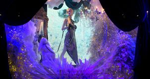 Saks Fifth Avenue's magical Theater of Dreams themed 2018 ultimate light show and holiday windows displays stock video