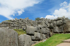 Saksaywaman inca city wall ruins in Peru stock photos