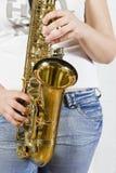 saksofon gracza Zdjęcie Stock