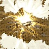 Saksofon i trąbka w ściana z cegieł z błyskawicą błyśniemy Obraz Royalty Free