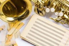 Saksofon na białym tle Obraz Stock