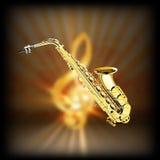 Saksofon na zamazanym tła treble clef ilustracja wektor