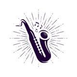 Saksofon, saksofonu logo lub etykietka, Muzyka na żywo, jazz, błękita symbol również zwrócić corel ilustracji wektora ilustracja wektor