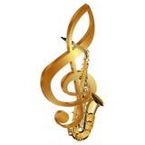 Saksofon w złocistym treble clef Obraz Royalty Free