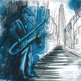 Saksofonista Obrazy Royalty Free