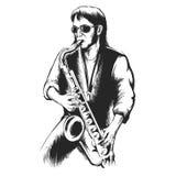 Saksofonista lub saksofonowy gracz Zdjęcie Stock