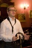 saksofonista, muzyka wystrzału grupy koktajl, Aleksander Mazurov Zdjęcie Royalty Free