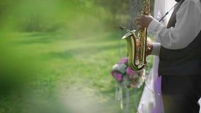 Saksofonista sztuki przy ślubem outdoors Drzewa przy przodem rama plan tworzyć plamę zbiory