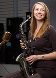 saksofonowa kobieta obraz royalty free