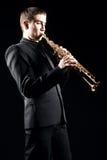 Saksofonowego gracza jazzowy mężczyzna Obrazy Stock
