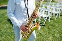 Saksofonowego gracza jazzu muzycznego instrumentu saksofonista Fotografia Royalty Free