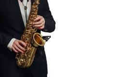 Saksofonowego gracza mężczyzna odosobniony biały tło Obrazy Royalty Free