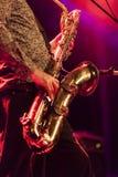 Saksofonowego gracza żywy koncert na scenie Zdjęcie Royalty Free