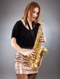 Saksofonowego gracza zbliżenie Fotografia Stock