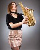 Saksofonowego gracza zbliżenie Zdjęcia Stock