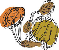 Saksofonowy gracz ilustracja wektor