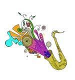 Saksofonowy muzyczny jazzowy pojęcie Kreśli, doodle, deseniuje z, notatkami i treble clef, cyfrowy remis, odizolowywający na biel Zdjęcia Stock