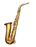 Saksofonowy saksofon na białym tle Zdjęcia Stock