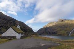 Saksunar Kirkja church, Saksun, Faroe Islands, Denmark Stock Image