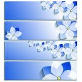 Σύνολο οριζόντιου μπλε εμβλημάτων με το sakura άνθησης Στοκ φωτογραφία με δικαίωμα ελεύθερης χρήσης
