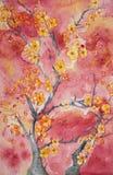 Sakura against a red sky. vector illustration