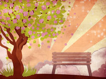 Sakura And Bench On Grunge Background Stock Photo