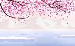 Sakura att falla sprider, landskapet med isberget, japansk bakgrund för säsongändringsferie som reser affischbegreppet, vektor royaltyfri illustrationer