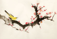 Sakura and bird branch Stock Image