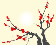 Sakura blossom branch. With cherry flowers stock illustration