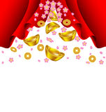 Sakura blossom and gold ingot fall from red curtain Royalty Free Stock Photos