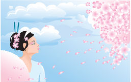 Sakura blossom and japanese girl Royalty Free Stock Image