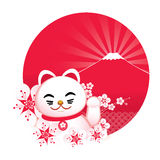 Sakura blossom with Japanese lucky cat and. Vector illustration of sakura blossom with Japanese lucky cat and  fuji mountain Royalty Free Stock Image