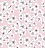Sakura blossom seamless pattern on pale pink background. Elegant naive spring floral design element for invitation, card, poster, greetings, wedding Stock Images